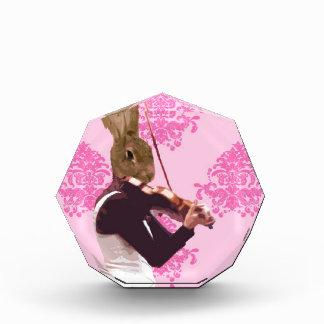 バイオリンを演奏するおもしろいのウサギ 表彰盾