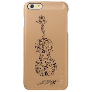 バイオリンラインスケッチ、カスタマイズ可能なイニシャル INCIPIO FEATHER SHINE iPhone 6 PLUSケース