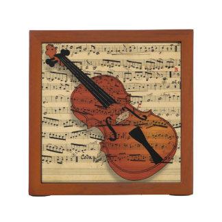 バイオリン音楽コラージュの机のオルガナイザー ペンスタンド
