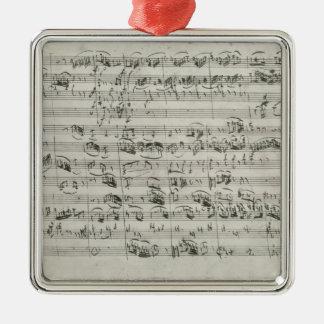 バイオリン、ハープシコードおよびvioloncelloのためのGの専攻学生 シルバーカラー正方形オーナメント