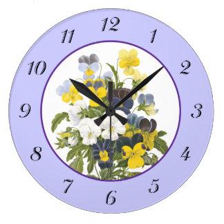 バイオレットおよびパンジーのヴィンテージの植物の柱時計 ラージ壁時計