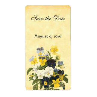 バイオレットおよびパンジーの花は日付ラベルを救います ラベル