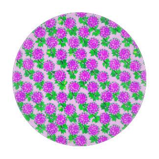バイオレットおよび蘭のダリアの花 カッティングボード