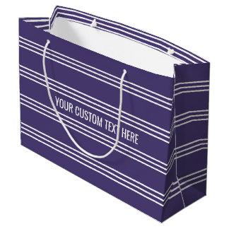 バイオレットのストライプでカスタムな文字のギフトバッグ ラージペーパーバッグ