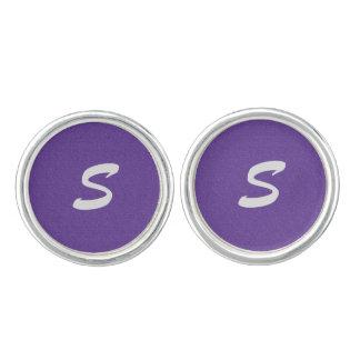 バイオレット/紫色の微光のモノグラム カフリンクス