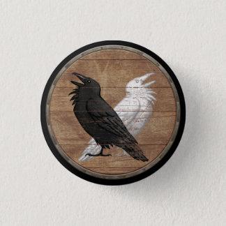 バイキングの盾ボタン- Odinのワタリガラス 3.2cm 丸型バッジ