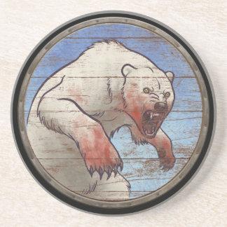 バイキングの盾-白くま コースター