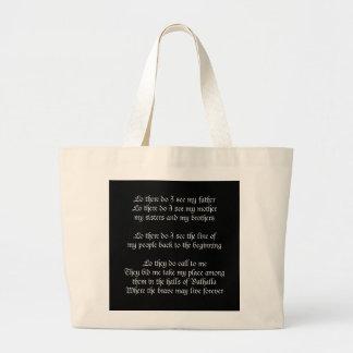 バイキングの祈りの言葉の黒 ラージトートバッグ