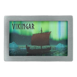 バイキングの船およびNorthern Lights 長方形ベルトバックル