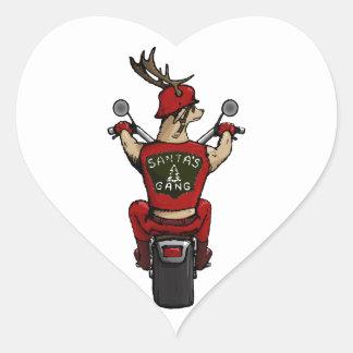 バイクに乗っているサンタのシカ ハートシール