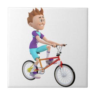バイクに乗っている漫画の男の子 タイル