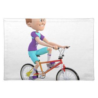 バイクに乗っている漫画の男の子 ランチョンマット