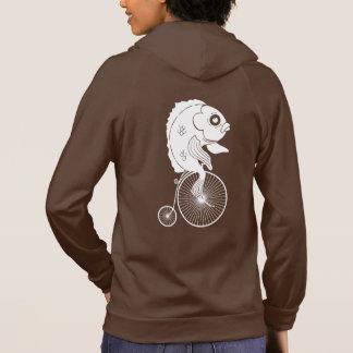 バイクに乗っている魚 パーカ