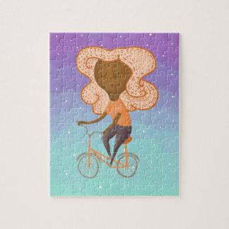 バイクのパズルの女の子 ジグソーパズル