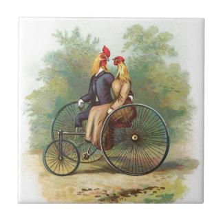 バイクのヴィンテージのオンドリそして雌鶏 タイル