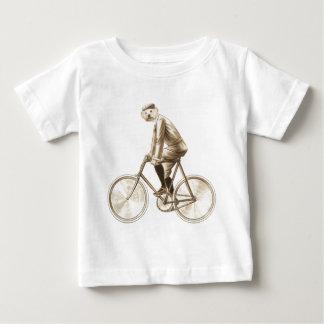 バイクのヴィンテージの混合メディアの犬は印刷します ベビーTシャツ