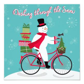 バイクの冬のWhimisicalの雪だるま カード
