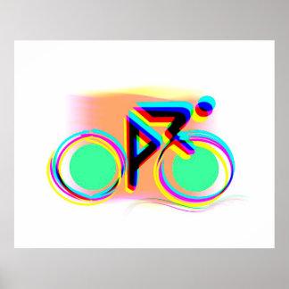 バイクの抽象芸術を競争させるクールな色はポスターをカスタマイズ ポスター