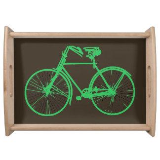 バイクの自転車のミントの緑の茶色のサービングの皿 トレー