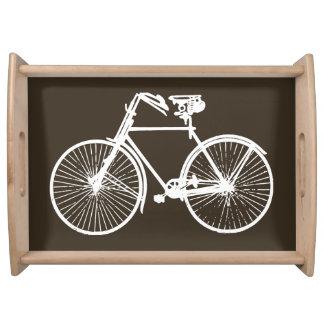 バイクの自転車の白い茶色のサービングの皿 トレー
