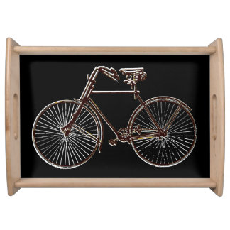 バイクの自転車の白い茶色の黒いサービングの皿 トレー