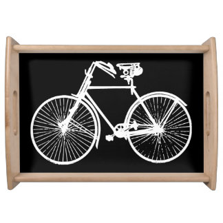 バイクの自転車の白く黒いサービングの皿 トレー