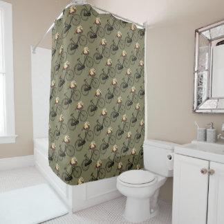 バイクの自転車の花のかわいらしいシャワー・カーテンの暗灰色 シャワーカーテン