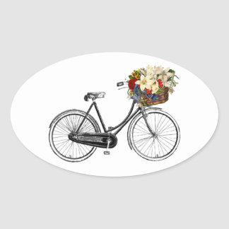 バイクの自転車の花のかわいらしいスクラップブックのステッカー 楕円形シール
