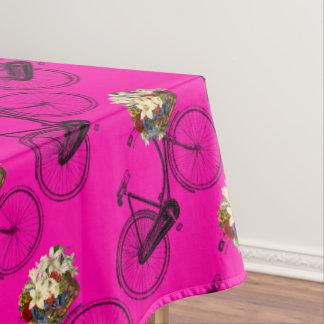 バイクの自転車の花のかわいらしいテーブルクロスのピンク テーブルクロス