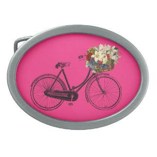 バイクの自転車の花のベルトの留め金のピンク 卵形バックル