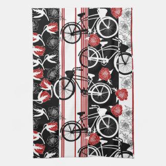 バイクの花のバスケットのふきん キッチンタオル