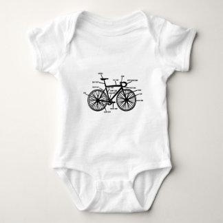 バイクの解剖学のおもしろいなギークのギークのTシャツ ベビーボディスーツ