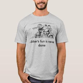 バイクもしくは自転車に乗る人のおもしろいは決してされたTシャツではないです Tシャツ