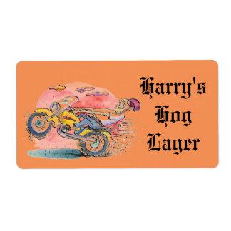 バイクもしくは自転車に乗る人のHomebrewビールブタのラガーのエールB&Oのカスタムなラベル ラベル