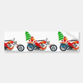 バイクもしくは自転車に乗る人サンタ バンパーステッカー