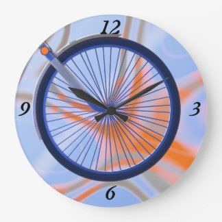 バイク周期-自転車の車輪のデザイン ラージ壁時計