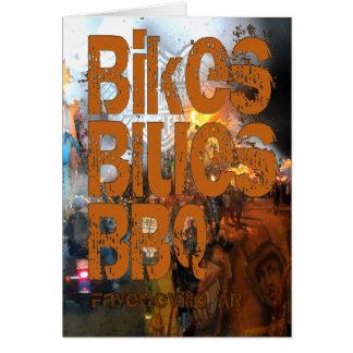 バイク、青、BBQの挨拶 カード