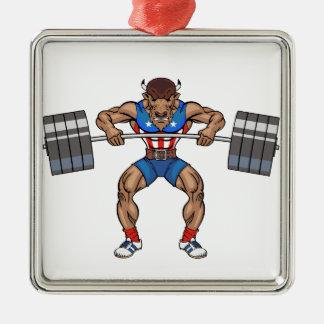 バイソンの重量挙げ選手 シルバーカラー正方形オーナメント