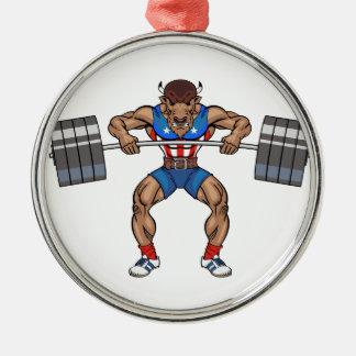 バイソンの重量挙げ選手 メタルオーナメント