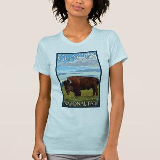 バイソン場面-グレーシャー国立公園、MT Tシャツ