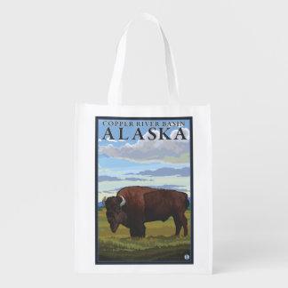 バイソン場面- Copper川盆地、アラスカ エコバッグ