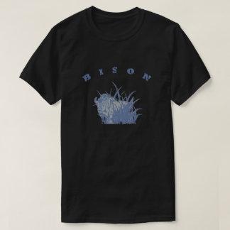 バイソン-アメリカのバッファローのライトの青のグラフィック Tシャツ