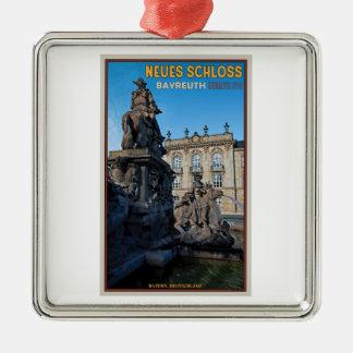 バイロイト- Neues Schloss シルバーカラー正方形オーナメント