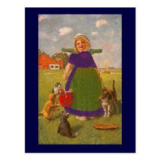 バケツおよび猫を持つオランダの女の子 ポストカード