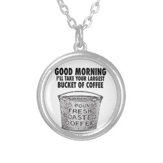 バケツによるコーヒー シルバープレートネックレス