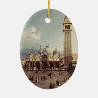 バシリカ会堂を持つCanaletto-の広場サンMarco セラミックオーナメント