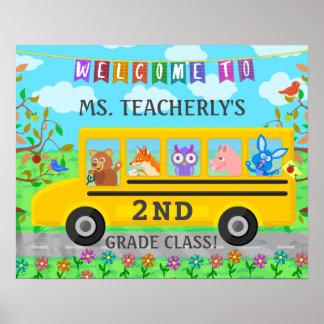 バスの先生の教室の喜ばしい徴候のかわいい動物 ポスター