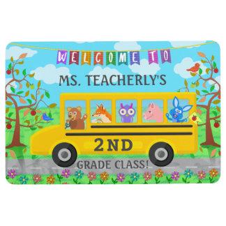 バスの先生の教室の歓迎|のかわいい動物 フロアマット