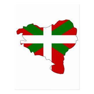 バスクの旗の地図 ポストカード