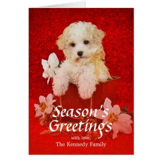 バスケットに坐っている甘く小さいクリスマスの子犬 カード
